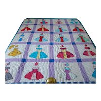 Colorful Vintage 1940s PARASOL BELLE Feedsack, Flannel & Calico QUILT