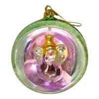 CHRISTMAS Hand Blown Oversized MERCURY GLASS Diorama Indent Ornament, Angel