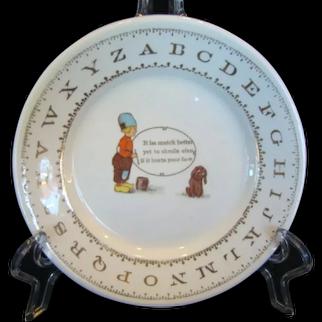 Antique Hotel Children's ABC Ironstone Plate, 'SMILE', Dutch Boy & Googly Eyed Dog