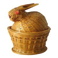 Vintage Hand Woven MID-CENTURY MODERN Bamboo Baby Bunny Rabbit Box