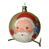 Vintage Large Hand Painted SANTA Christmas Mercury Glass Ornament ITALY
