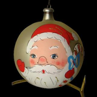 Vintage Large Hand Painted SANTA Christmas Mercury Glass Ornament ITALY