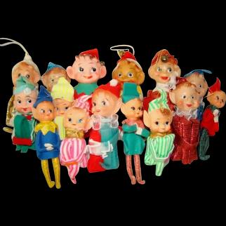 15 Colorful Vintage CHRISTMAS Knee Hugging PIXIE ELF Tree Ornament Decorations