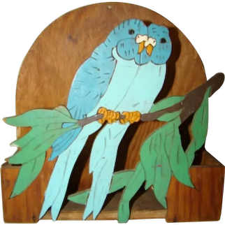 1940s FOLK ART Hand Made LETTER Wall Hanging BOX, Painted Blue Love Birds