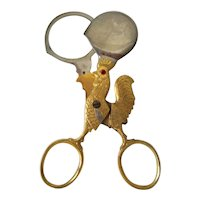 Vintage Boiled Egg SCISSOR CUTTER TOPPER Tool, Gold Chicken Rooster, Rhinestone