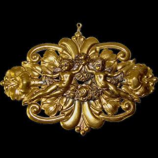 "Vintage Large Embossed Brass Overlaid CHERUB 3-3/4"" Finding, Christmas Ornament"