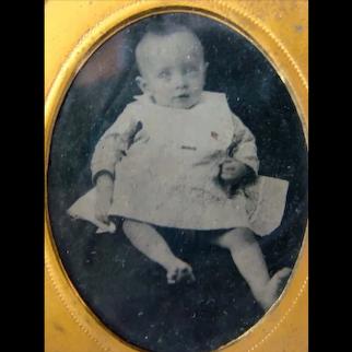 Sweet Antique Civil War Era TINTYPE PHOTOGRAPH, Skinny Little Baby, Case