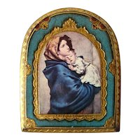 Lovely Vintage FLORENTINE Gilded Wood Panel, Religious MADONNA & CHILD, Italy