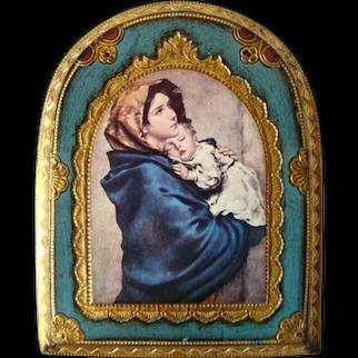 Lovely Vintage FLORENTINE Gilded Wood Panel, Religious MADONNA & CHILD, Italy