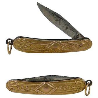 Early 20th Cent. 18Kt Gold Miniature Keychain Mini Folding Knife