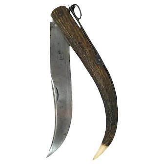 Antique Solid Ring pull French Cornillon Hunting Knife Navaja