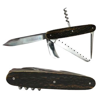 Late 19th cent Multi Blade Deer Stag French Folding Knife With Corkscrew