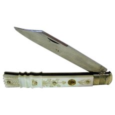 1820 Palais Royal Mother Of Pearl Lady's Type Folding Knife With Gold Enameled Pansy plaque