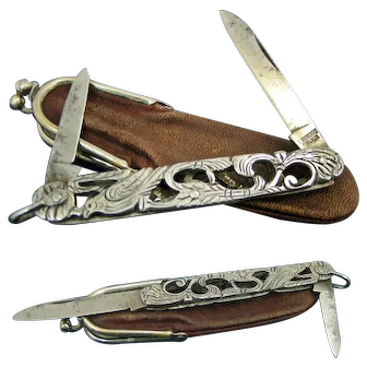 An Ornate Antique Italian Cut Steel Open Work Quill Pen Knife With original Pouch. C1860