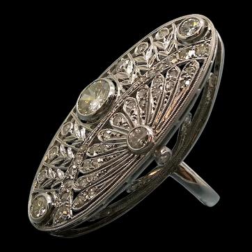 Fab Late Edwardian Early Art Decò Diamond &Platinum Dinner Ring. C 1920