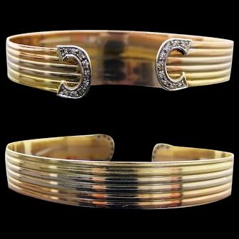 Vintage 1960's Diamond 18K Tri Color Gold Double -C Open Cuff Bangle Bracelet