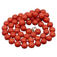 Early 20th Beautiful Necklace Strand Of Fine Sardinian Red Natural Coral.