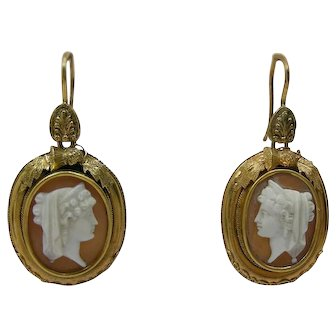 Antique Victorian Era 18k Gold Carved Shell Cameo Earrings C1880