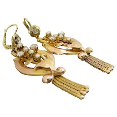 Antique Italian 18Kt Gold Victorian Diamonds And Seed Pearls Dangle Drop Earrings