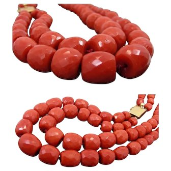 Double Strand Early 1900 Mediterranean Coral Graduated Faceted  Barrels Necklace – 105 grams