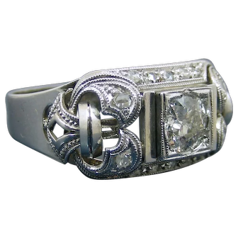 Art Decò 1920-1930 18kt Gold 0.79 Old European Cut Antique Diamond Ring