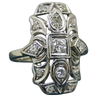 Art Decò C1930 Platinum 0.4 ct Old European Cut Antique Diamond Ring
