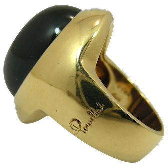 Vintage Pomellato Gold And Cabochon Garnet Ring 1980's