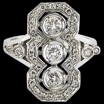 C1940 Platinum 1.10 ct Brilliant And Simple-Cut Diamonds Diamond Ring