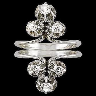 C1950 18ct White Gold 1.00 ct Brilliant Cut Diamonds Diamond Ring Designed As Two Symmetrical Rings