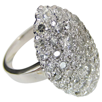 2.0 Ct Diamond Navette Ring In 18K White Gold