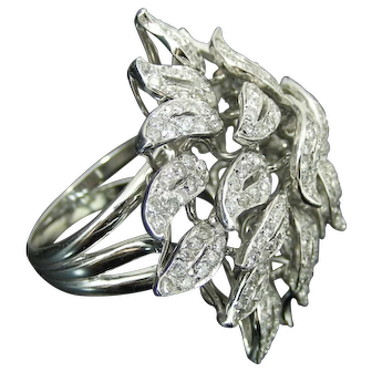 2.25 ct Dahlia Flower Diamond Ring In 18K White Gold. Circa 1950s