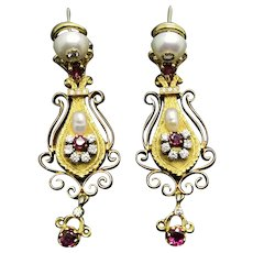 Vintage Two Tone 18ct Gold Drop Earrings Set With Rubies, Diamonds And Cultured Pearls. 1970's
