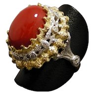 Vintage Oxblood Sardinian Natural Coral 18Kt Gold Ring With Diamonds