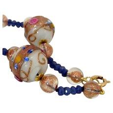 Art Deco Venetian Murano Wedding Cake Roses Aventurine Glass Beads Necklace