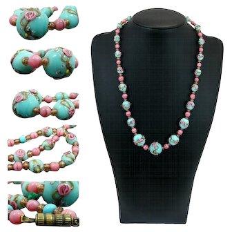 Art Decò Lampwork Murano Glass Bead *Wedding Cake* necklace