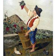 Framed *The grape Harvest* Florentine Pietra Dura Plaque, *Arte Musiva Firenze*, Florence, c. 1885