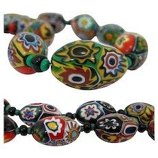 Art Deco 1930 MORETTI Millefiori Glass Bead Necklace, Murano Venezia