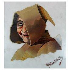 Giovanni Montelatici (1864-1930) Signed Italian Pietra Dura Plaque of A Smiling Monk In original Presentation Case