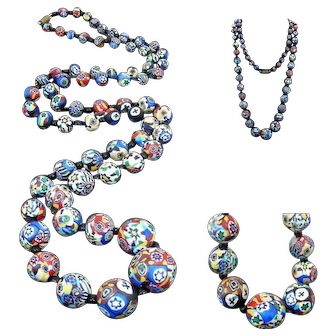 Wonderful Art Deco 1930 MORETTI 1 mt long Matt Millefiori Glass Bead Graduated Necklace Sautoir , Murano Venezia