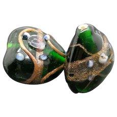Pair of Old 1940's  Handmade lampwork Venetian Glass bead for Earrings. Heart Shaped