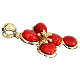 Finely Crafted Vintage 18Kt Mounted Sardinian dark Red Coral pendant Set With Diamonds