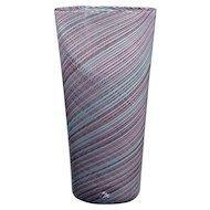 Mid 20Th Cent. Cendese Mezza Filigrana Murano Art Glass Vase