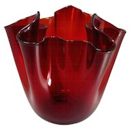 "Fulvio Bianconi (Padua 1915-1996 Milan), A Large Red  *Fazzoletto"" Murano Glass Vase, 1950 -1959"