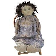 """Vintage 19"""" Folk Art Raggedy Ann, Volland Era Cloth Doll"""