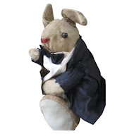 Antique Mohair Stuffed Folk Art Groom Rabbit