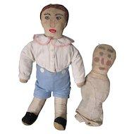 "Vintage Mennonite Cloth Boy 16"" Doll, Plus Early Doll"
