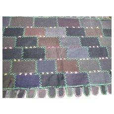 Antique Amish Folk-Art Wool Pieced Rug, Cat Tongues Edge