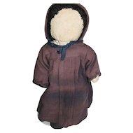 """Vintage Old Order Mennonite 16"""" Rag Doll, Pencil Face"""