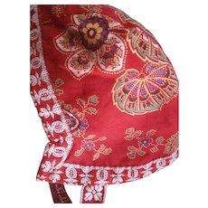 Antique Turkey Red Calico Baby Bonnet