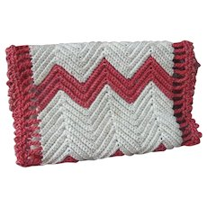 Early Sewing, Needle Case, Red Crochet